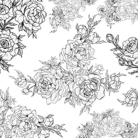 rose: Seamless pattern of beautiful roses on a white background.