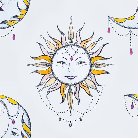 Seamless pattern of smiling sun and moon on a white background.