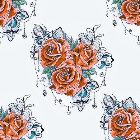 Seamless pattern of a branch from orange roses on a white background. Stock Photo