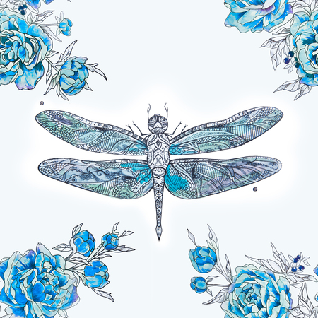 butterfly background: Seamless pattern of blue dragonfly and peonies on a white background.