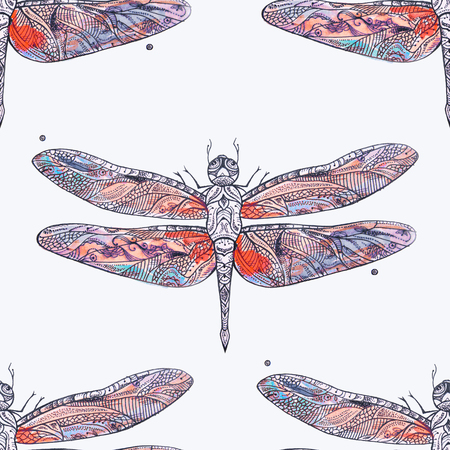 butterfly background: Seamless pattern of a red dragonfly on a white background.