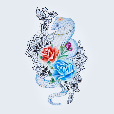 Sketch of snake cobra with multicolored flowers on a white background. Stock Photo