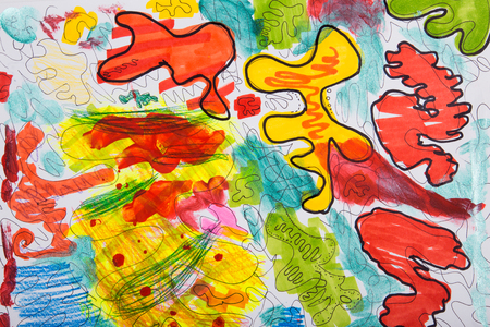 Chaotic abstract drawing. Childrens sketch. Texture of stains for background.