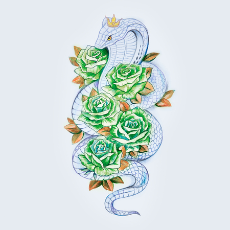 Sketch of snake cobra with green roses on a white background.