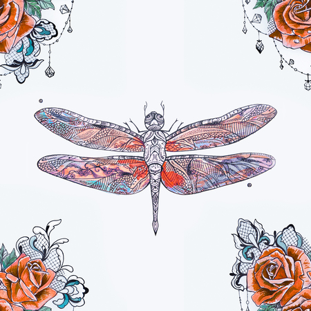 Seamless pattern of a red dragonfly and orange roses on a white background.