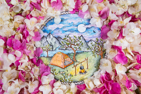 Sketch active outdoor recreation in beautiful wild rose petals. Stock Photo