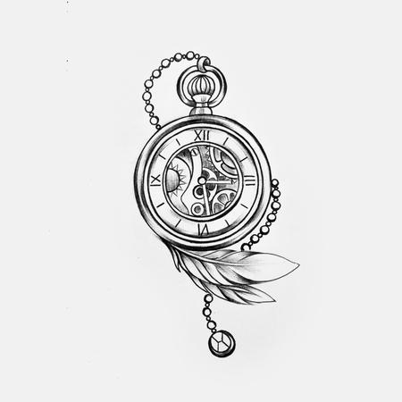 Eine Skizze einer schönen Uhr mit einem Stift auf einem weißen Hintergrund. Standard-Bild - 86700590