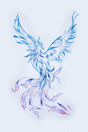 mythical phoenix bird: Sketch of a purple phoenix bird on a white background. Stock Photo