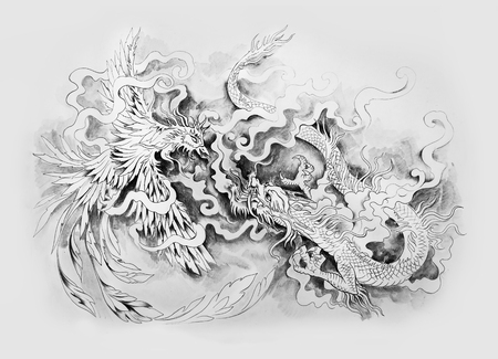 Sketch of the mythological battle of dragon and phenex on a white background. Stok Fotoğraf