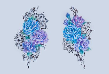 Schets van een tak van paarse en blauwe bloemen op witte achtergrond.