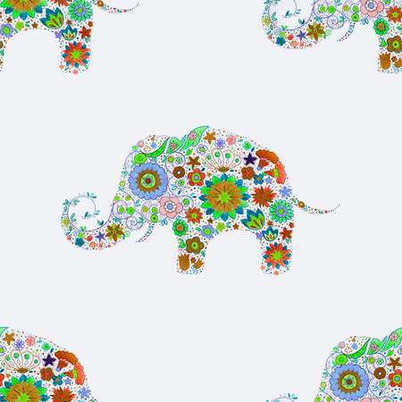 Seamless elephant pattern in beautiful colors on a white background.