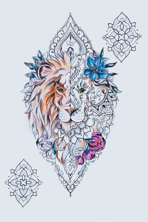 A sketch of a beautiful lion head in flowers on a white background.
