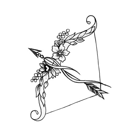 Sketch of a bow and arrows on a white background.