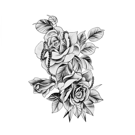 Sketch of a beautiful rose with ornaments on a white background.