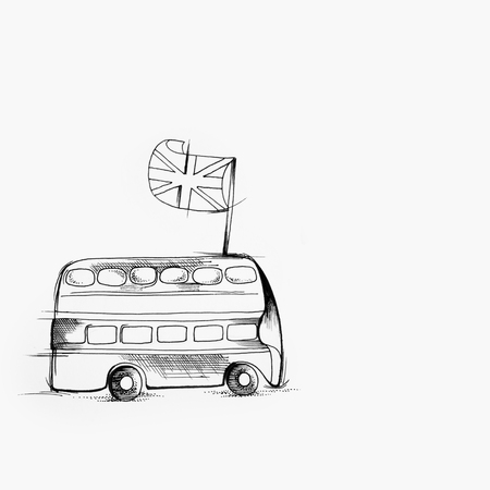 Sketch of English bus on white background. Standard-Bild