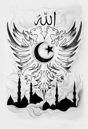 Sketch of dragon and Moslem mosque on white background.