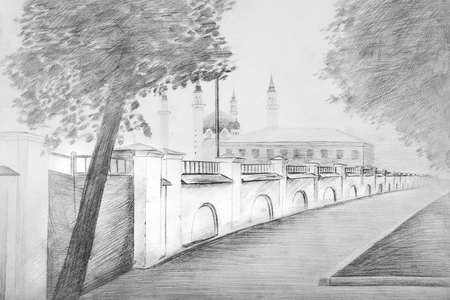 Sketch of a beautiful street in the background of a mosque. Sketch of Kazan street.
