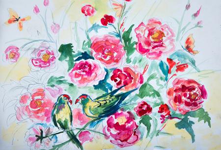Sketch Green parrots in flowers. Birds in peonies.