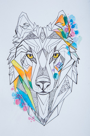 Sketch of wolf against white background. Geometrical drawing of a wolfs head.