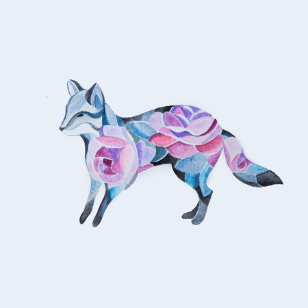 Sketch of a fox in flowers on a white background. Standard-Bild