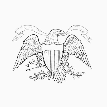 Sketch of American eagle on white background. Standard-Bild