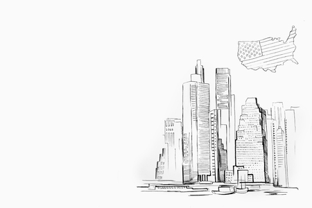Sketch of skyscraper on white background. Manhattan and the USA map.
