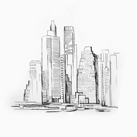 Sketch of skyscraper on white background. Picture of Manhattan Standard-Bild