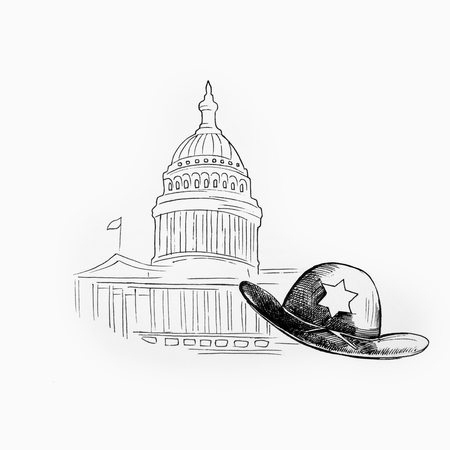 Sketch of a white house and a sheriffs hat on a white background.
