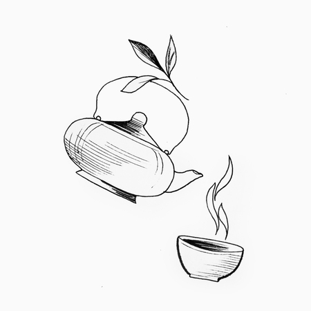 A sketch of tea on a white background. A picture of a kettle and a cup.