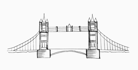 Sketch of Tower Bridge on a white background.