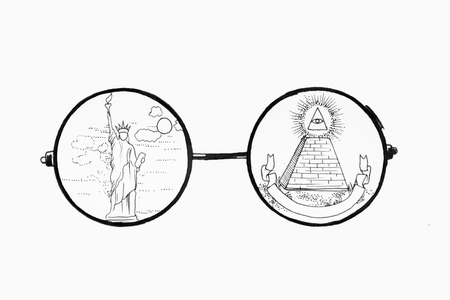 Sketch glasses on white background. Picture of the Statue of Liberty and the Masonic Sign. Pyramid. Standard-Bild