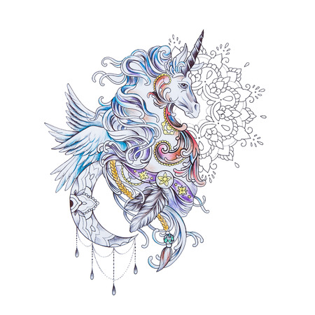 Sketch of a beautiful pegasus in patterns on a white background. Standard-Bild
