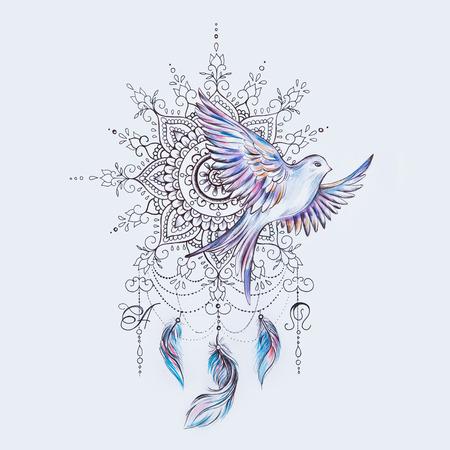 Sketch of a bird with a dreamcatcher on a white background. Standard-Bild