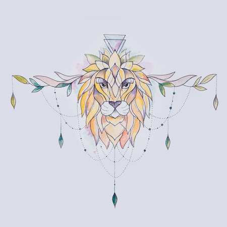 Sketch of a lion with patterns on a white background.