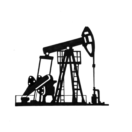 Sketch of equipment for oil extraction on a white background. Standard-Bild