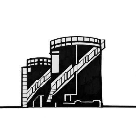 Sketch of a production building on a white background.