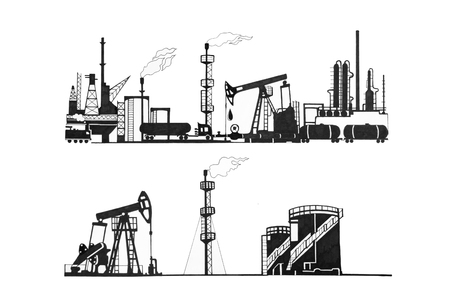 A set of sketches of oil production. Mining infrastructure. Standard-Bild