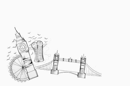 Sketch of Great Britain sights on a white background. Standard-Bild