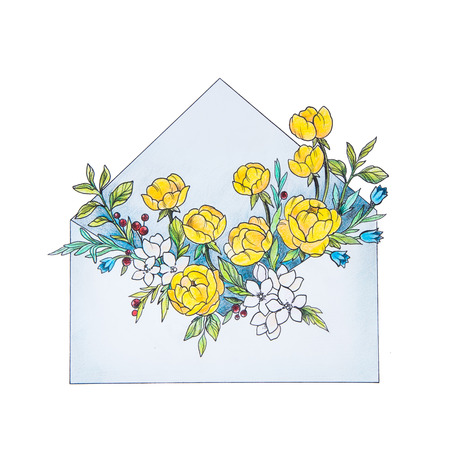 Sketch letter with flowers on a white background. The envelope.
