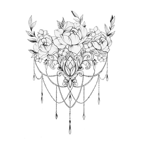 Sketch of a beautiful ornament with flowers on a white background. Standard-Bild