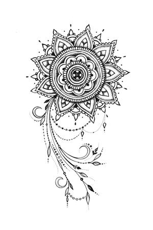 Sketch of a beautiful pattern with a mandala on a white background. Standard-Bild