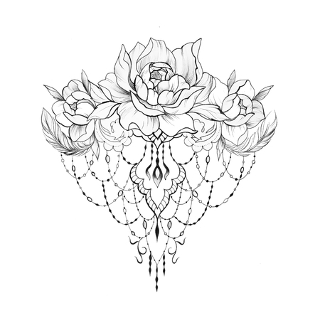 Sketch of beautiful peony flowers with patterns on a white background. Standard-Bild