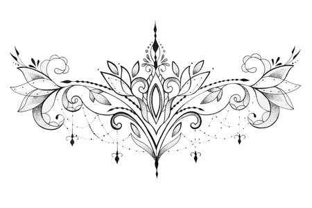 Sketch of a beautiful ornament on a white background.