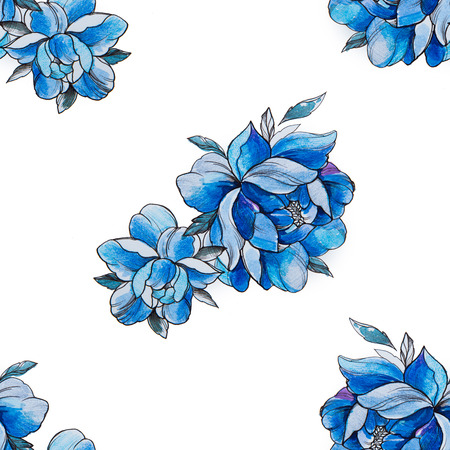 Seamless pattern of blue peonies on a white background.