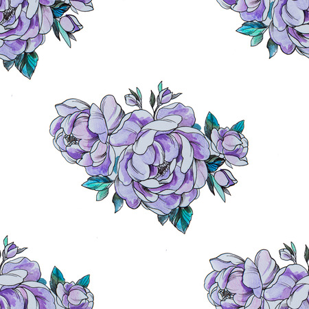 Seamless pattern purple peonies on a white background.