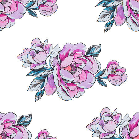 Seamless pattern red peonies on a white background.
