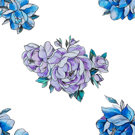 Seamless pattern purple and blue peonies on a white background.