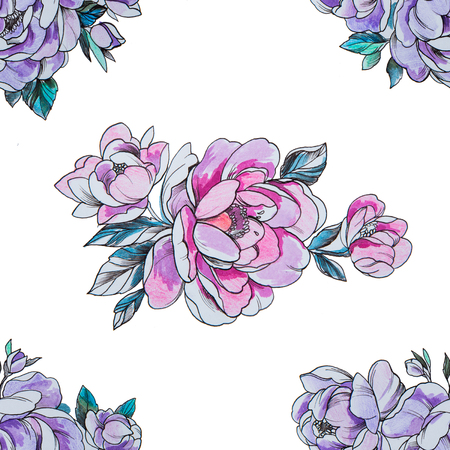 Seamless pattern purple and red peonies on a white background.