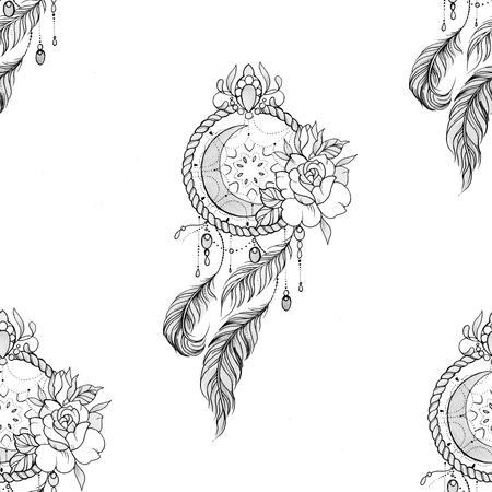Seamless pattern dreamcatcher with flowers on a white background. Standard-Bild