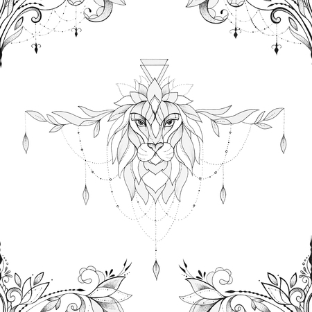 Seamless illustration of a lion head in a beautiful ornament on a white background.